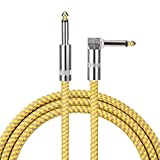 10 ft Guitar Bass Amp Cable Right Angle 1/4 Inch Premium Instrument Bass Cable AMP Cord to Straight for Electric Guitar Bass Keyboard to Guitar Amps