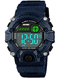 Boys Girls LED Sport Watch,Waterproof Digital Electronic Casual Military Wrist Kids Sports Watch with Silicone Band Luminous Alarm Stopwatch Watches Blue