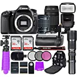Canon EOS 80D 24.2MP CMOS Full HD Wi-Fi Enabled Digital SLR Camera with Canon EF-S 18-55mm IS STM Lens + Canon EF 75-300mm f/4-5.6 III Lens + 2x 32GB Class 10 SD Memory Card + Accessory Bundle