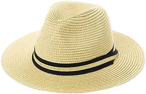 5d04595caa5 Fancet Packable Straw Fedora Panama Sun Summer Beach Hat Cuban Trilby Men Women  55-61cm