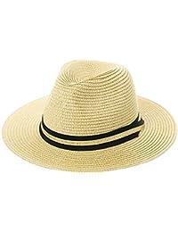 f5848da7f6d1e Unisex Packable Ribbon Band Straw Fedora Derby Panama Beach Sun Hat for  Womens Men 56-