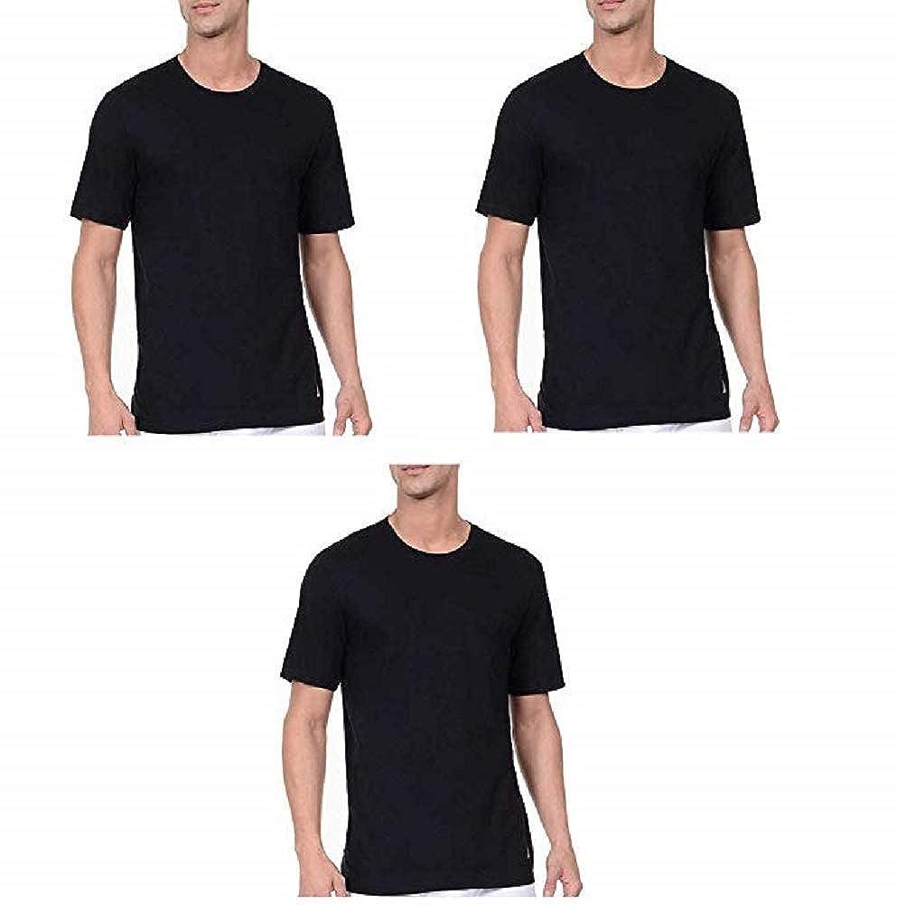noir 3 Pair M Nautica T-Shirt, sans étiquette, col Rond, Stretch, Super Doux Coton, Coupe Classique avec Logo, 3 Paires