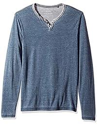 Men's Long Sleeve Burnout Notch Neck Shirt