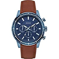Deals on GUESS W0867G2,Men's Chronograph Blue Dial Leather Strap