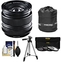 Fujifilm 14mm f/2.8 XF R Lens with 3 UV/CPL/ND8 Filters + Lens Pouch + Tripod + Kit for X-A2, X-E2, X-E2s, X-M1, X-T1, X-T10, X-Pro2 Cameras