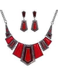 Ethnic Style Jewelry Sets,Vintage Ethnic Black Tibetan Silver Jewelry Irregular Rhinestone Bib Collar Earrings Necklace Set