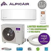 AlpicAir 12,000 BTU Ductless Mini Split Air Conditioner System 17.2 SEER Inverter Heat Pump