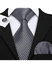 Barry.Wang Men Ties Pocket Square Cufflinks Silk Necktie Set Silver Grey Plaid