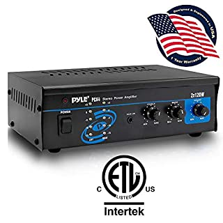 Pyle 2x120 Watt Home Audio Speaker Power Amplifier - Portable Dual Channel Surround Sound Stereo Receiver - For Amplified Subwoofer Speakers, DVD, MP3, iPhone, Computer, Theater via 3.5mm RCA - PCA4