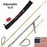 Scuba Choice 7' Travel Spearfishing 3-Piece Pole Spear 1 Prong Single Barb Tip Adjustable to 5' with Bag