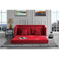 Modern Soft Brush Microfiber Modular / Convertible Sleeper Sofa (Red)