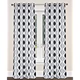 Zen Faux Silk Hourglass 2-Panel Grommet Curtain Set, 54x95 inch, White/Black/Silver