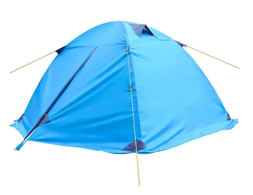 JINPENGRAN Outdoor-Aluminium-Pole-Zelt, Doppel-Doppel-Tür, Camping-Zelt-Paar Camping Regenfeste Ultra Light,Blau