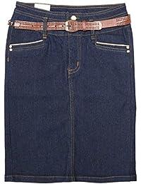 "Women Plus Stretch Below The Knee Length Belted Denim Skirt 23"""