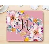 Monogram mousepad letter M - Floral Mouse Pad Computer Accessories Home Office Space Cubicle Decor