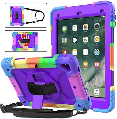 BMOUO iPad sixth Generation Case,iPad fifth Generation Case,iPad 9.7 Case 2018/2017,iPad Air 2 Case,3 Layer Shockproof [360 Swivel Stand][Hand Strap][Pencil Holder] Kids Case for iPad 9.7 inch 2018/2017