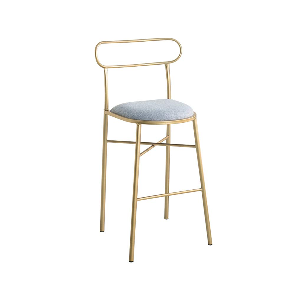 D H-65CM A-Fort Nordic New Bar Stool Wrought Iron Bar Chair gold Home High Stool Modern Dining Chai Bar Stool,Creative Chair (color   A, Size   H-75CM)