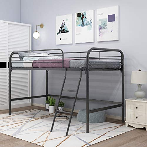 JURMERRY Metal Loft Twin Bed with Sturdy Steel Frame, High Sleeper Multipurpose Use Full-Length Guardrails & One Integrated Ladders Space- with Strong Board Slats,Black Silver