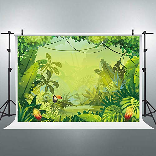Riyidecor Jungle Safari Backdrop Forest Kids Green Photography Background 7x5ft Happy Birthday Decoration Celebration Props Party Photo Shoot Floral Baby Shower Dessert Table Blush Vinyl Cloth