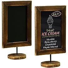 12-Inch Burnt Wood Framed Memo Chalkboard, Tabletop Cafe Menu & Message Board Sign, Set of 2