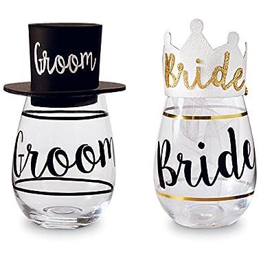 Mud Pie Wedding Wine Glasses Set, Black/Gold