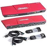 TESmart DisplayPort + HDMI 2x2 Dual Monitor KVM Switch | 4K@60Hz | Mechanical & Multimedia Keyboards | USB 2.0 Devices | Audio Output | 2-Port Updated KVM Switch (Red)