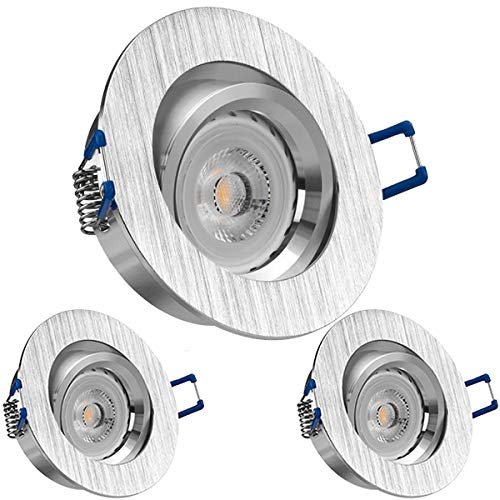 3er LED Einbaustrahler Set Bicolor (chrom   gebürstet) mit LED GU10 Markenstrahler von LEDANDO - 7W - warmweiss - 30° Abstrahlwinkel - schwenkbar - 50W Ersatz - A+ - LED Spot 7 Watt - Einbauleuchte LED rund