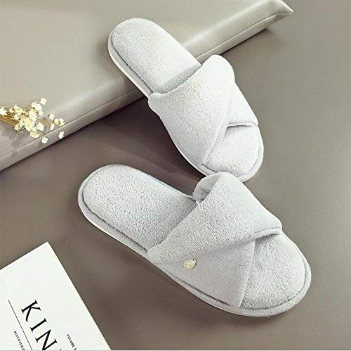 1 JaHGDU Ladies Slippers Slip at Home to Keep Warm in Autumn and Winter Leisure Solid color Super Soft Casual Breathable Cotton Slippers