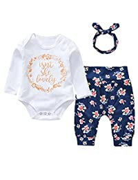 3Pcs Cotton Newborn Baby Girls Tops + Flower Pants + Headband Clothes Outfits Set