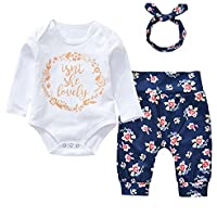 Bebé recién nacido Niñas Manga Larga Romper Pantalones con floral Headband isn 't she Lovely 3pcs Sets