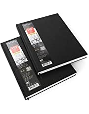 Arteza Cuadernos de dibujo de tapa dura   Pack de 2   110 hojas por cuaderno   Tamaño 21,6 x 27, 9 cm   Papel grueso de 110 gsm
