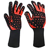 """Green Vivid Heat Resistance Gloves-BBQ Gloves-Personal Protective Gloves for Hot Work Protection, Bear Temperature Up to 932℉-Use as Grilling Gloves,Oven Mitts,Fire Resistant Gloves,13"""",1 Pair"""