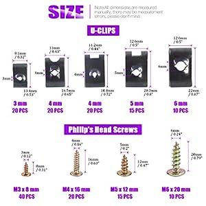 170Pcs Auto Car U-Clip U Nut and Screw Assortment Kit for Dash Door Panel Interior SAE