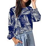 DRAGONHOO Women's Casual Leaves Print Long Sleeve O-Neck Shirt Tops Blouse Coat Pullover Sweater Sweatshirt