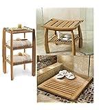 New Grade A Teak 3Pc Accessory Set: Shower Bench, Shower Shelf and Floor Mat