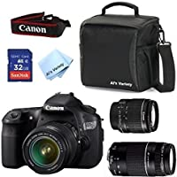 Canon EOS 60D Camera Body with Canon 18-55mm IS II + Canon 75-300mm III Zoom + Al's Variety Deluxe Gadget Bag + 32GB Bandwidth Memory Card + Al's Variety Premium Cleaning Cloth + Top Value Bundle