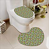 L-QN Toilet Mat Flowers Skulls Day Catholic Ceremony Artistic Design Art Non Slip, Microfiber Shag, Absorbent, Machine Washable
