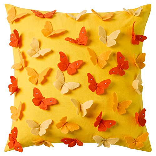 Cassiel Home 3D Applique Butterfly Yellow Throw Pillow Covers 18x18 with Diamond Tiped Wings Spring Gifts Detective Pillow Covers for Couch