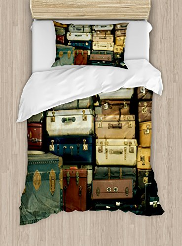 Ambesonne Vintage Duvet Cover Set Twin Size, Colorful Vintage Suitcase Antique Leather Travel Map Nostalgia Themed Print, Decorative 2 Piece Bedding Set with 1 Pillow Sham, Brown Cream Green