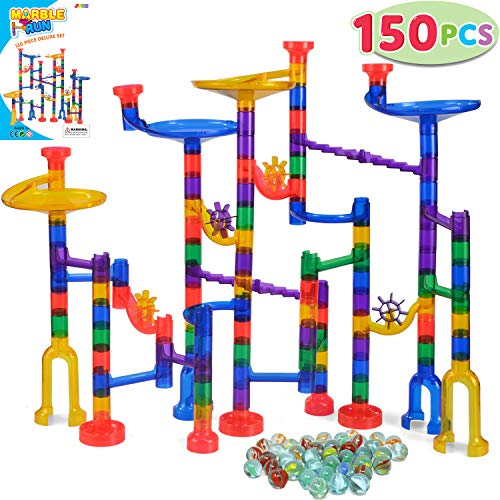 JOYIN 150 Pcs Marble Run Premium Set, Construction Building Blocks Toys, STEM Learning Toy, Educational Building Block Toy(100 Translucent Plastic Pieces + 50 Glass Marbles)]()