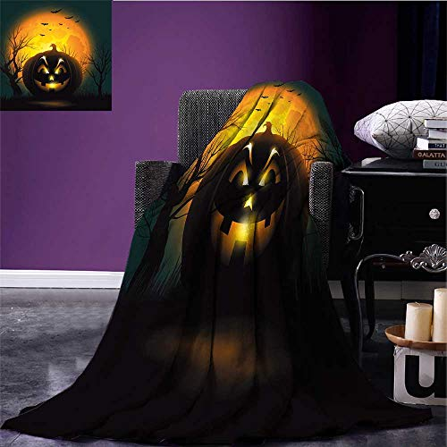 RenteriaDecor Halloween Lightweight Blanket Fierce Character Evil Face Ominous Aggressive Pumpkin Full Moon Bats Print Artwork Orange Dark Brown Black Bed or Couch -
