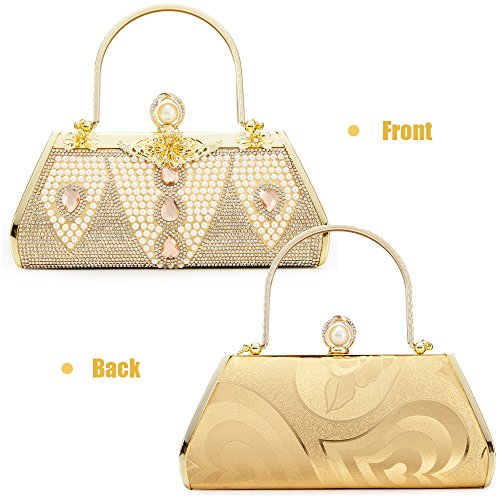 Tote 1 Bag Prom Bridal Purse Evening Handbag Case Bags Hard Frame Party Wedding Metal Gold Womans Cluthc Bag qwCHTnv