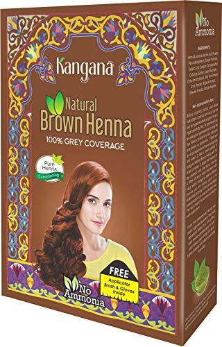 Kangana Polvo de Henna 100% Puro y Natural para el Tinte para el Cabello - Polvo de Henna marrón Natural para cobertura de Cabello gris - 6 bolsas en el Interior - Total de 60 g (2.11 oz) (Tintes Para El Cabello)