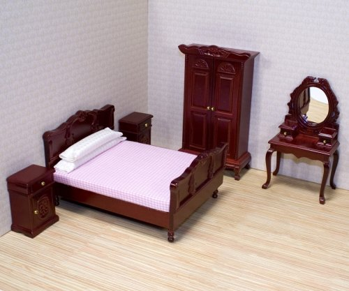 Melissa & Doug Classic Victorian Wooden and Upholstered Dollhouse Bedroom Furniture (5 pcs) Melissa and Doug 12583