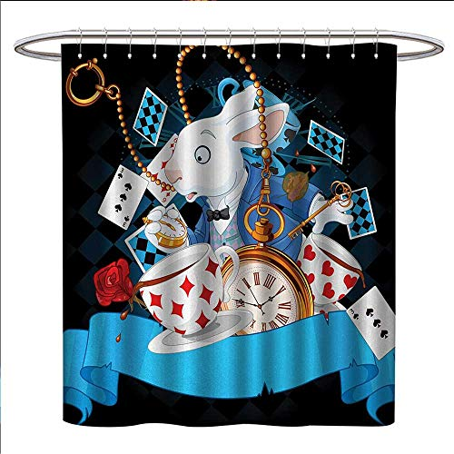 (Anniutwo Alice in Wonderland Shower Curtains Fabric Rabbit Motion Cups Hearts and Flower Character Alice Cartoon Style Fabric Bathroom Set with Hooks W69 x L75 Multicolor)