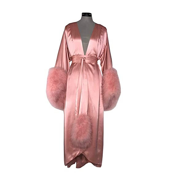 Retro Lingerie, Vintage Lingerie, 1940s-1970s Kelaixiang Womens Robe Fur Nightgown Bathrobe Sleepwear Feather Bridal Robe with Belt $89.00 AT vintagedancer.com
