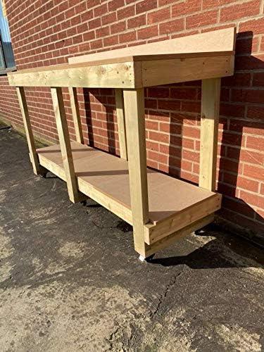 Workbench MC Timber Productos Nuevo! Banco de trabajo de alta resistencia con soporte superior y ruedas de tablero de densidad media de 6 pies de largo con tratamiento a presión.: Amazon.es: Bricolaje