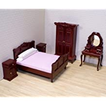 Melissa & Doug Classic Victorian Wooden and Upholstered Dollhouse Bedroom Furniture (5 pcs)
