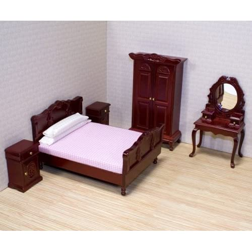 Melissa U0026 Doug Classic Victorian Wooden And Upholstered Dollu0027s House  Bedroom Furniture ...