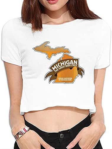 Womens Drink Michigan Beer Dew Navel T Shirt